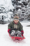 Child on sledge Stock Image
