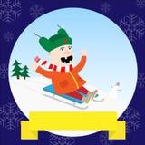 Child on sledge Royalty Free Stock Image