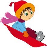 Child sledging downhill. Vector illustration shows a child sledging downhill Stock Photos