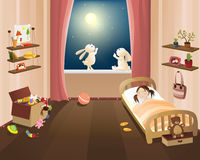 Child sleep. Vector illustration: night in nursery Royalty Free Stock Photos