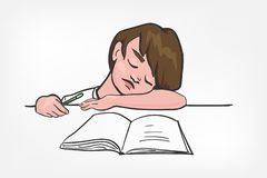 Child sleep doing study vector illustration clip art royalty free illustration