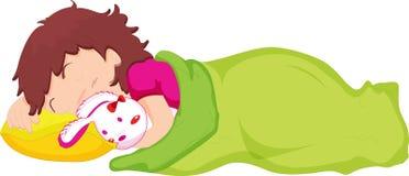 Child sleeping. Illustration of child sleeping with teddy Stock Photography