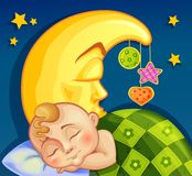 Child sleeping on the moon. With toys Royalty Free Stock Images