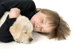 Child sleeping with puppy. Close-up of child sleeping with Labrador retriever puppy Royalty Free Stock Photo