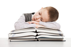 Child sleeping on reading books Stock Photos
