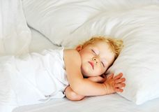Child sleeps. The child sleeps in bed Stock Photos
