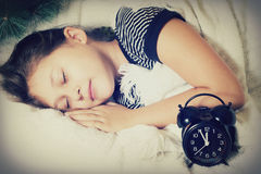 Child sleeps,  new year Royalty Free Stock Image