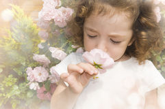 Child smelling flower on blurred hazy background.  Stock Photos