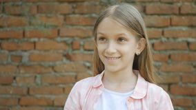 Child Smiling Looking Above, Kid Laughing, Happy Expression School Girl Face.  stock images