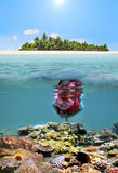 Child snorkelling dive in tropical island resort Stock Photos
