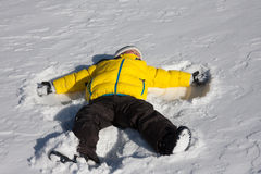 Child snow angel Royalty Free Stock Photos