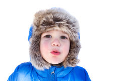 Child in Snow Hat and Jacket, Winter Stock Images