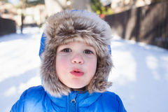 Child in Snow Hat and Jacket, Winter Stock Photography