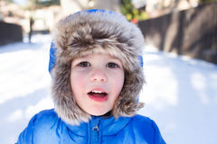 Child in Snow Hat, Winter Stock Image