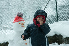 Child in the snow with snowman Royalty Free Stock Photos