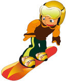 Child in snowboard. Vectors illustration shows a child riding a snowboard Royalty Free Stock Image
