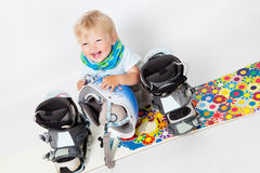 Child with snowboard Stock Photography