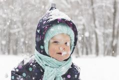Child during a snowfall stock photo