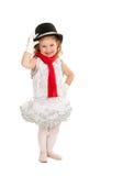 Child in Snowman Christmas Dance Costume. Happy Toddler Child in Christmas Winter Snowman Ballet Dance Recital Costume Stock Photos