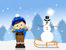 Child with snowman in the snow Stock Images