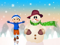 Child with snowman Stock Photos