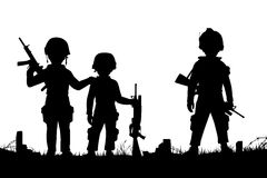 Child soldiers. Editable vector silhouettes of three children dressed as soldiers with figures as separate objects Stock Photo