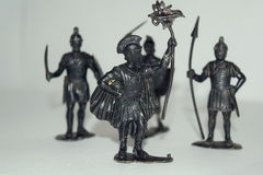Child soldiers. Toy soldiers legionaries of Rome stock image