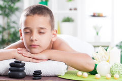 Child in spa salon,eye closed Royalty Free Stock Photo