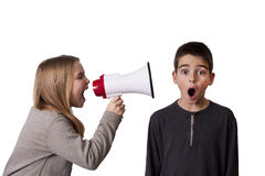 Child with speaker Royalty Free Stock Photos