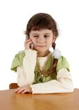 Child speaks by  phone Stock Image