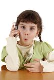 Child speaks by  phone Stock Photos