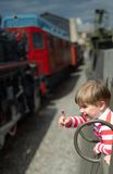 The child specifies from the train Stock Images