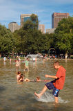 Child Splashes at the Frog Pond, Boston Common Royalty Free Stock Photography