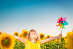 Child in spring field royalty free stock photos
