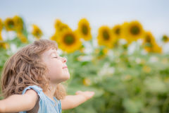 Child in spring field Royalty Free Stock Images