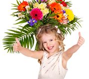 Child with spring flower. Royalty Free Stock Photos