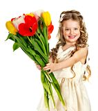 Child with spring flower. Royalty Free Stock Image