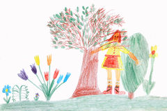 Child in a spring garden - children drawing Royalty Free Stock Photography