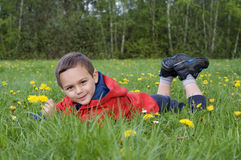 Child  in spring nature Stock Photo