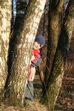 Child in a spring wood Royalty Free Stock Photography