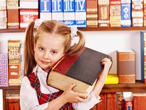 Child with stack book. Royalty Free Stock Photo
