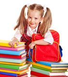 Child with stack book. Royalty Free Stock Photography