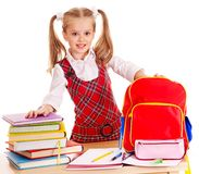 Child with stack book. Stock Photos