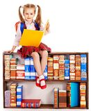 Child with stack book. royalty free stock image