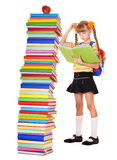 Child with stack of books. Royalty Free Stock Image