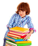 Child with stack of books Royalty Free Stock Images
