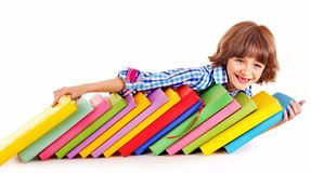 Child with stack of books. Stock Photography