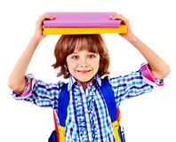 Child with stack of books. Stock Images