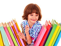 Child with stack of books Royalty Free Stock Photo