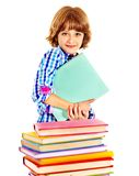 Child with stack of books. Royalty Free Stock Photography